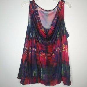 Lane Bryant Plus Sz 22/24 Sleeveless Red Print Top